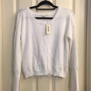 Garage white fuzzy sweater